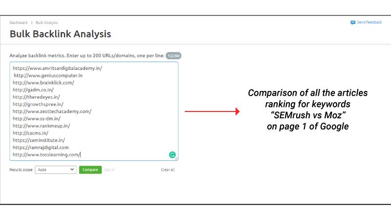 Semrush Bulk Backlink Analysis Tool