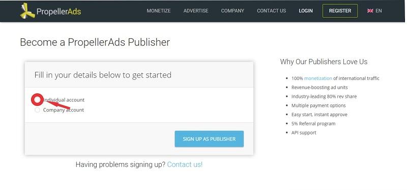 Register with Propeller Ads