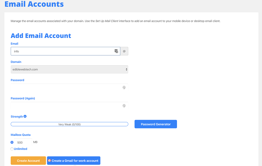 email accounts set up