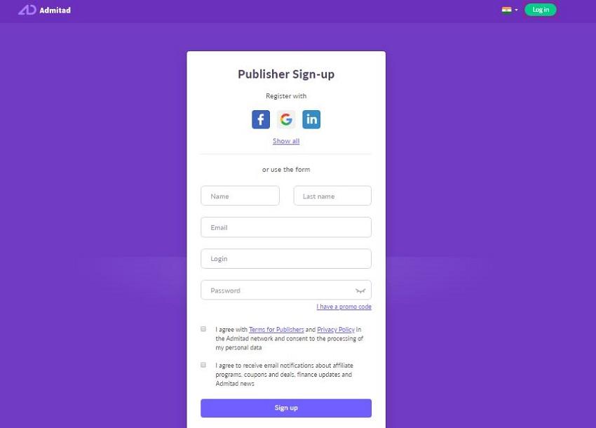 Admitad Publisher Sign Up